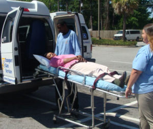 Stretcher transfers are provided for clients